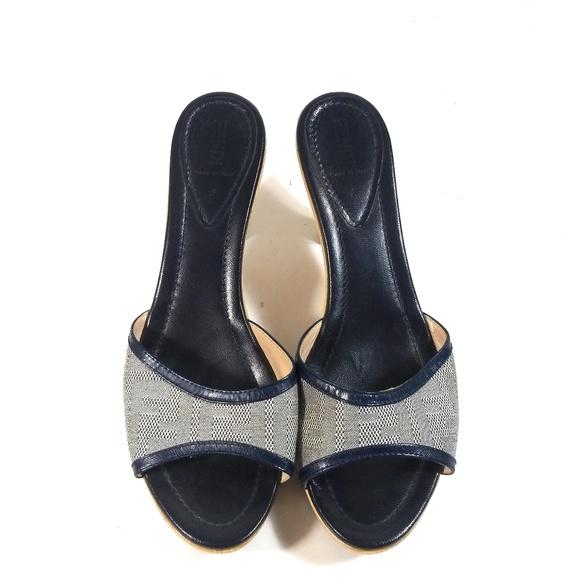 9fc98a9ba9d Fendi Blue Sandals Leather Wooden Heel Slides 40